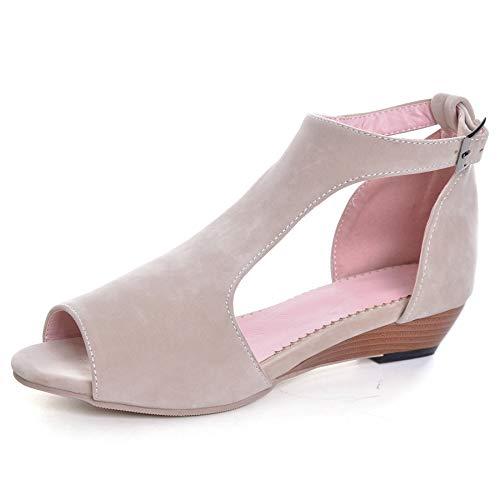 Chic Mode Women's Cut Out Medium Heel peep Toe Wedge Sandals Beige