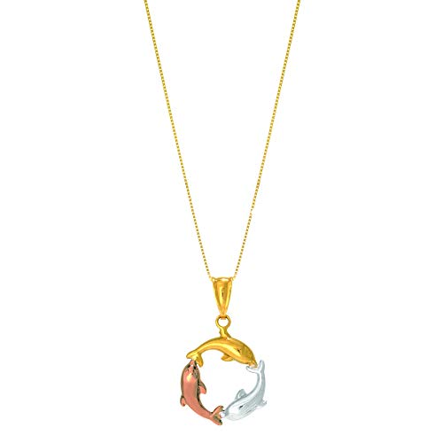 14K Tri-Color 3-Circling Dolphin Pendant on Classic Box Chain 18