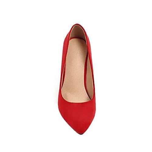 Couleur Légeres Rouge Talon À Dépolissement Haut Chaussures Femme Tire Aalardom Unie YqzFCv
