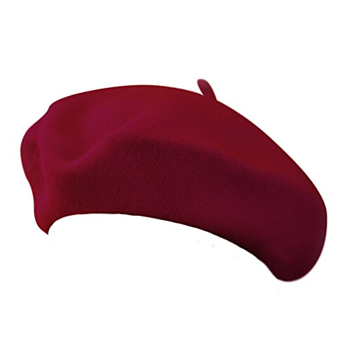 Classic Wool Blend French Artist Beret CHERRY RED - 80's Artists Costumes