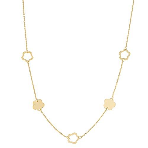 14k Yellow Gold Flower Station Necklace (18 inch) by Kooljewelry