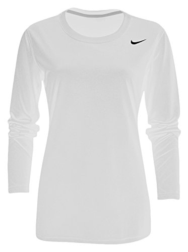 Long T-shirt Sleeve Volleyball (Nike Long Sleeve Womens' Legend T-Shirt - White - Medium)