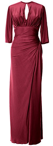 MACloth Women Half Sleeve Jersey Long Mother of Bride Dress Formal Evening Gown Wine Red