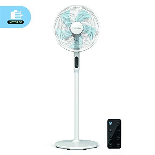 🥇 UNIVERSALBLUE | Ventilador de pie Silencioso Blanco | Mando a Distancia | 24 velocidades | Modo Eco | Motor DC