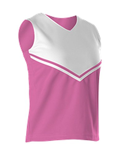 - Alleson Girls Cheerleading V Shell Top With Braid Pink, White L C101VY C101VY-PIWH-L