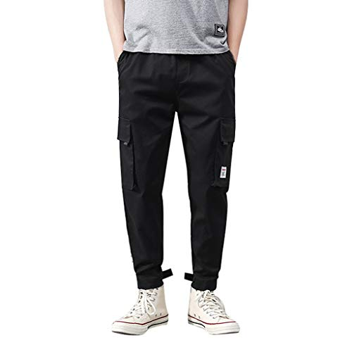 Allywit Men's Jogger Pants Causal Workout Trousers Slim Fit Beach Sweatpants Comfortable with Large Pockets Black