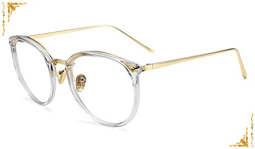 (FEISEDY Vintage Round Women Eyewear Metal Non-prescription Glasses Frame B2447)