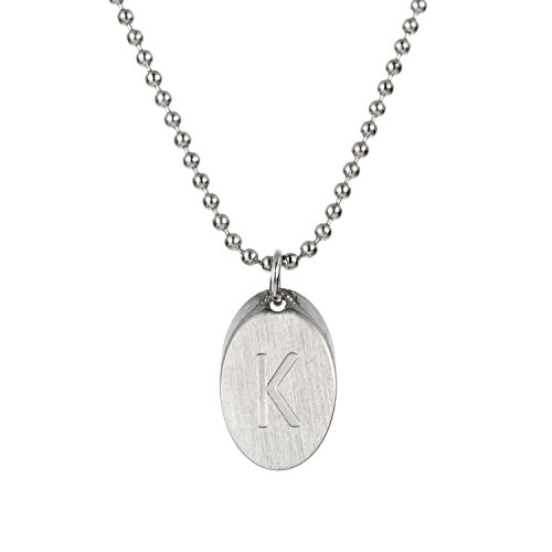 HUAN XUN Disc Initial K Necklace Letter Charm Pendant Necklace Stainless Steel 16