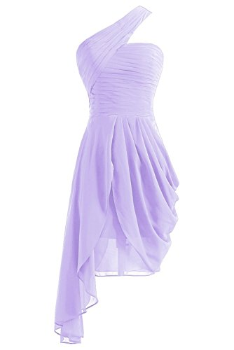 Abendkleider Brautjungfernkleides One Kurz Shoulder Blau Damen Lavender Ballkleider Fanciest wRFqzz