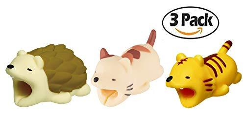 Kpergah 3 Pcs Cable Bite Protectors Cute Animal Cord Compatible with iPhones (Hedgehog + Cat + Tiger)