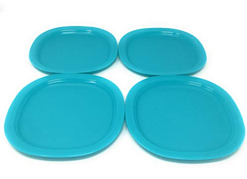 Tupperware Ocean Blue Microwave Reheatable Luncheon / Dessert Plates Set of 4