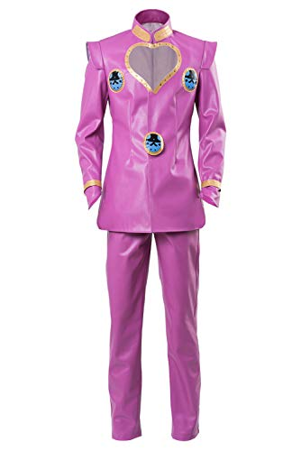Yancos JoJo's Bizarre Adventure Giorno Giovanna Outfit Halloween Cosplay Costume Pink Party Jacket ()