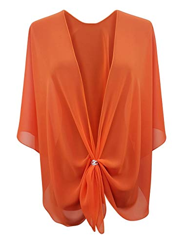 (eXcaped Women's Evening Shawl Wrap Sheer Chiffon Open Front Cape and Silver Scarf Ring (Orange))