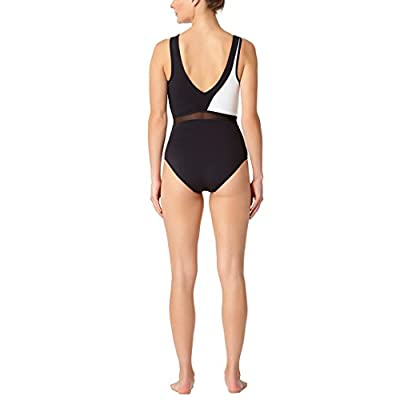 Anne Cole Women's High Neck Mesh Black and White Sexy One Piece Swimsuit at  Women's Clothing store