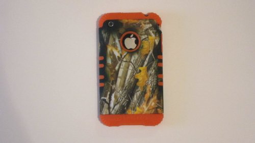 Silicone Case for Apple iPhone 3G 3GS Oak Camo with Orange Skin