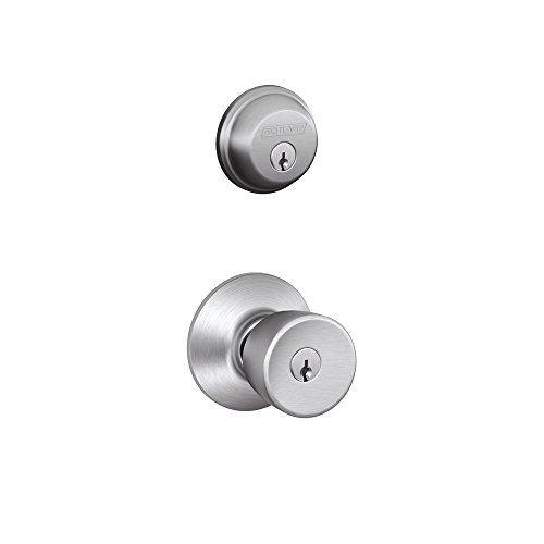 Keyed Alike Satin Brass - Schlage FB50N V BEL 626 B60 Single Cylinder Deadbolt and F51 Keyed Entry Bell Knob Keyed Alike, Satin Chrome finish
