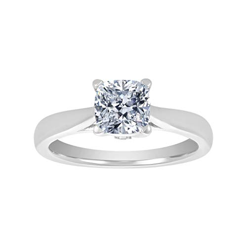 (NANA Silver 7.00mm (1.50ct) Cushion Cut Zirconia Lucita Solitaire Ring-Platinum Plated-Size 6)