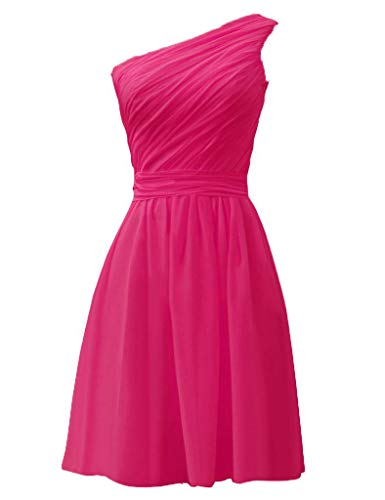 Asbridal Une Robes De Demoiselle D'honneur Courte En Mousseline De Soie Plissée À Bas Prix De L'épaule Robes Du Parti Rose