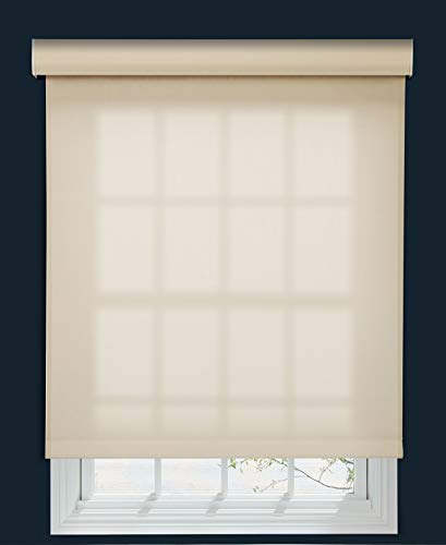 Decor Avenue Custom Cordless 5% Solar Screen Roller Shade Muslin 70 W x 66 to 78 H Outside Mount