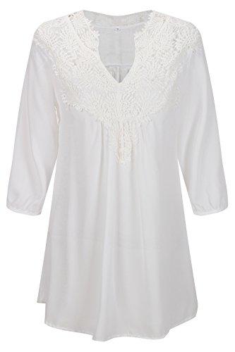 Beauty7 Camisas Mujeres Sueltas Gasa Hueco Florales Encaje 3/4 Mangas V Cuello Vestido Verano Blusas T-Shirt Tops Parte Superior Camisetas Casual Vacaciones Blanco