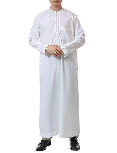 Medio Thobe Arabo Uomo Oriente Robes Lunghe Abaya Abito Taambab Di Islamico Musulmano White Saudi Maniche Girocollo Caftan Veste Oman Preghiera xIXq5p8wt