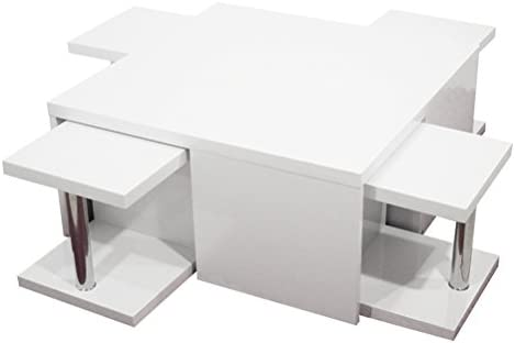 RR Design Mesa Centro salón Madera Lacado Brillante Blanco con 4 ...