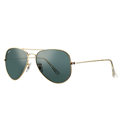 Aviator Sunglasses Large Metal Frame Non-Polarized Crystal Lens,58mm (Gold Frame/Crystal - Aviator Logo Sunglasses