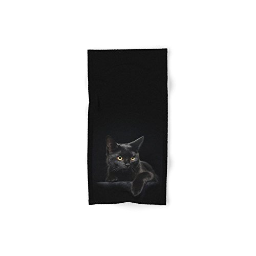 Society6 Black Cat Set of 4 (2 hand towels, 2 bath towels) by Society6