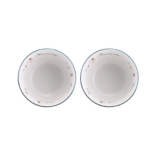 Pfaltzgraff Winterberry Round Sentiment Dessert Bowls, Set of 2