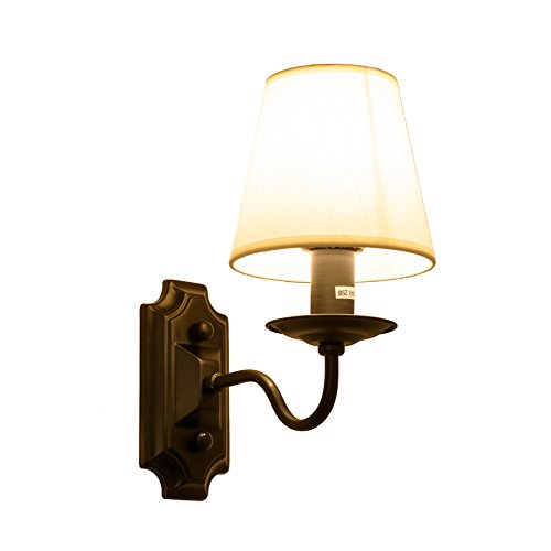 American Simple Aisle Lights Wrought Iron Fabric Bedside Lamp Mirror Light Single Head Wall Light 21cm Wide 28cm High Chassis 8x16cm E14x1 Cream (Wide Chassis)