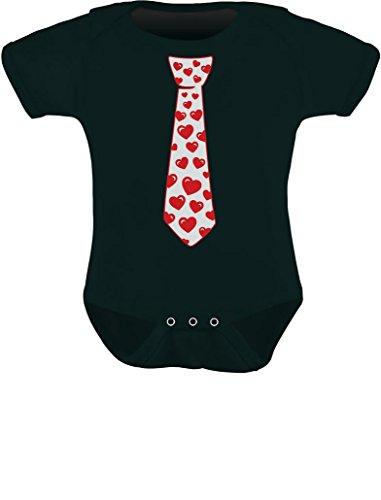Red Hearts Tie Love Cute Infant Baby Bodysuit 12M Black -