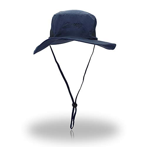 d189497131a FayTop Unisex Sun Hat UPF 50+ boonie Hat Adjustable Outdoor Fishing Hat  Bucket Hats Wide Brim Sun Protection Hat For Women Men B11001-Blue