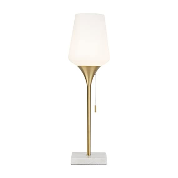 "Rivet Marble and Brass Table Lamp, 24.5""H, Harper Mid-Century, With Bulb - Portable Side Lamp: this decorative table lamp weighs 5 lbs., allowing you to conveniently switch its place as and when you want to bring a change in your decor setting. This room decor is perfect for placing on top of small tables Product Features: this home decor accessory features nylon pull chain switch which also includes a clear cord and bulb. Fine decorative detailing is provided to make the decor item blend easily within contemporary setting Sturdy Decorative Piece: antique brass finish of this interior decor unit offers excellent strength and corrosion resistance. It also features sleek metal stand with strong base to keep the lamp from tilting or falling - lamps, bedroom-decor, bedroom - 31KWXmzEpiL. SS570  -"