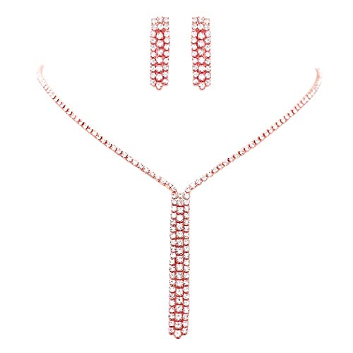 Rhinestone Fringe Necklace - Rosemarie Collections Women's Rhinestone Fringe Dangle Necklace and Earrings Set (Rose Gold)