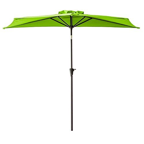 FLAME&SHADE 9 foot Half Round Outdoor Market Umbrella with Crank Lift, Push Button Tilt, Apple Green