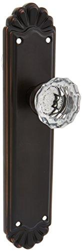 Belmont Plate Set With Astoria Crystal Door Knobs Passage Polished Brass. Antique Brass Door Hardware. (Knob Brass Tall)