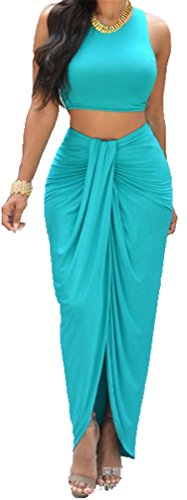 Allonly Women's Sexy 2 Pieces Tank Tops Bodycon Maxi Skirt Party Clubwear - Skirt Club Set