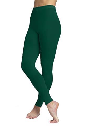 EMEM Apparel Women's Ladies Solid Colored Seamless Opaque Dance Ballet Costume Full Length Microfiber Footless Tights Leggings Stockings Hunter Green -