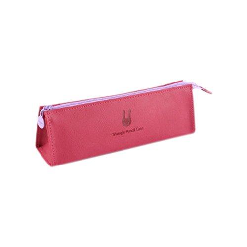 cupcinu PU Leder Simple Triangle Federmäppchen für Mädchen groß Pen Bag Stationery Make Up Taschen Münze Tasche Geldbörse 19.8*6.5*5.3CM schwarz rose