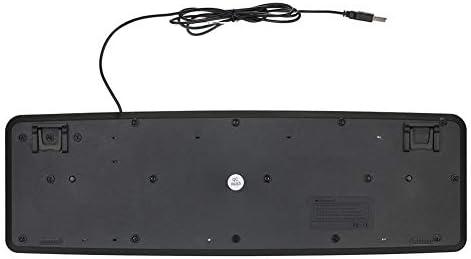 Edmend USB Filaire Clavier avec Touches Blanches Grandes Lettres Noires Clavier