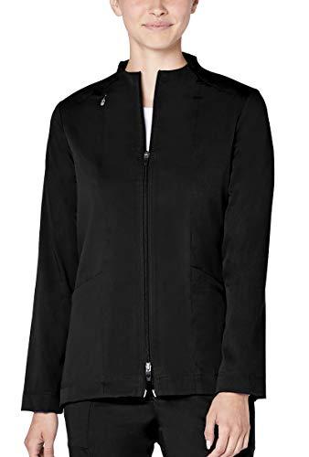 Sleeve Funnel Neck Jacket - Adar Pro Scrubs for Women - Tailored Funnel Neck Scrub Jacket - P7200 - Black - XL