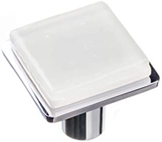 product image for Sietto K-1300-PC Geometric Square Glass knob with Metal Accent
