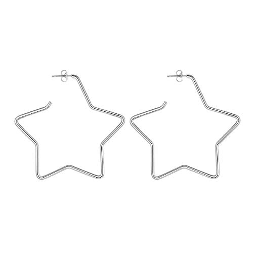 (FOCALOOK Five-Pointed Star Stainless Steel Large Geometric Dangle Fashion Hoops Earrings for Women Girls 60MM)