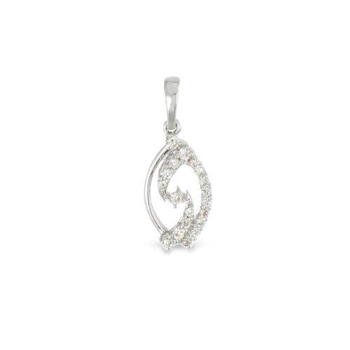 Tous mes bijoux - CODN01018 - Collier avec Pendentif Femme - Or blanc 375/1000 0.8 gr - Diamant 0.11 cts - 45 cm