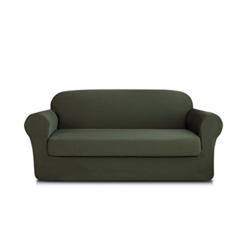 DyFun 2-Piece Knit Spandex Stretch Dining Room Sofa Slipcovers (Loveseat, Army Green) Dining Room Loveseat