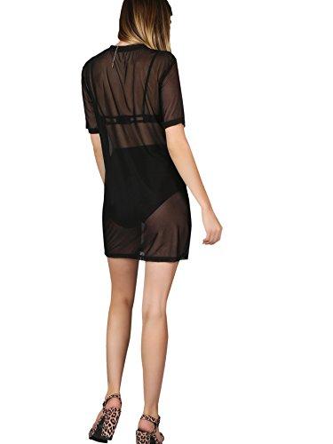 99e3bc4410 MAKEMECHIC Women s Beach Cover Ups Short Sleeve See Through Sheer Mesh T  Shirt Dress
