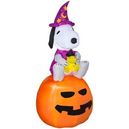 Halloween Airblown Inflatable Snoopy as Wizard with Woodstock on Pumpkin 5FT Tall by Gemmy Industries -