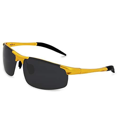 de Gafas Gafas El Al AMZTM Gris Mg Protección Oro Ultraligero Sol Polarizadas Ciclismo para Pesca Hombre UV Deportivas para WxznxRr