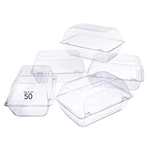 50 Pack Clear Plastic Flower Box for Corsage, Boutonniere, Rose, Orchid Prom Wedding Craft Container 9x6x5 44