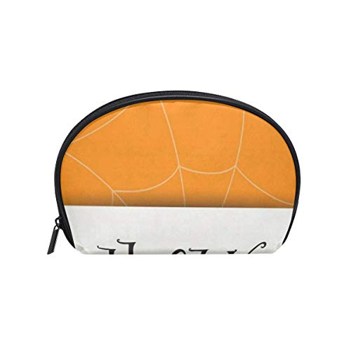 Cosmetic Bag Happy Halloween Greeting Spiderweb Minimalist Customized Shell Makeup Bags Organizer Portable Pouch for Women/Girls ()